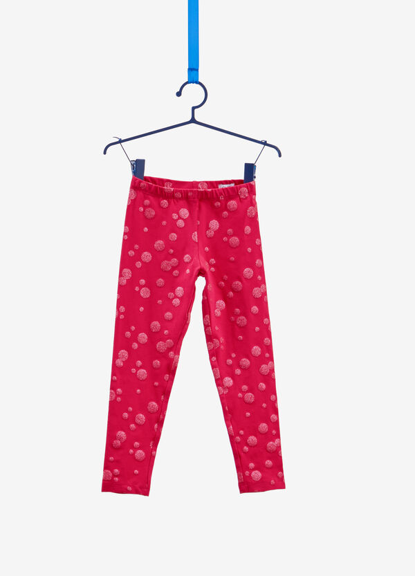 Stretch cotton leggings with glitter polka dots