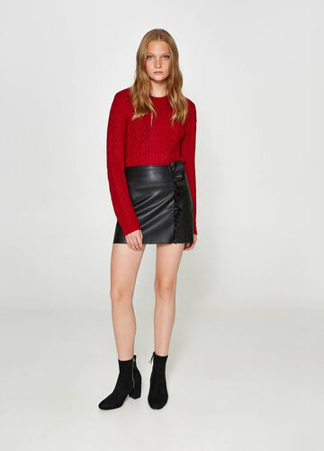 Textured-effect mini skirt with flounce