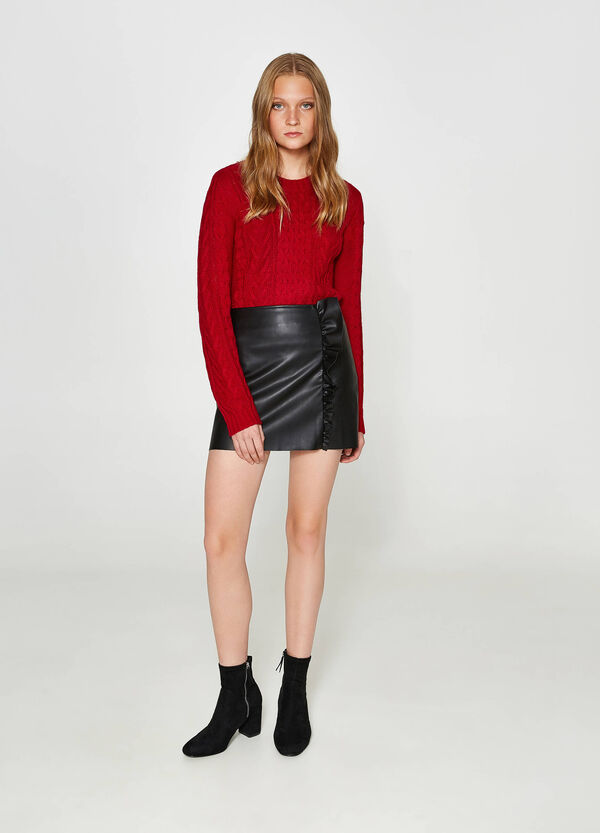 Textured-effect mini skirt with flounce | OVS