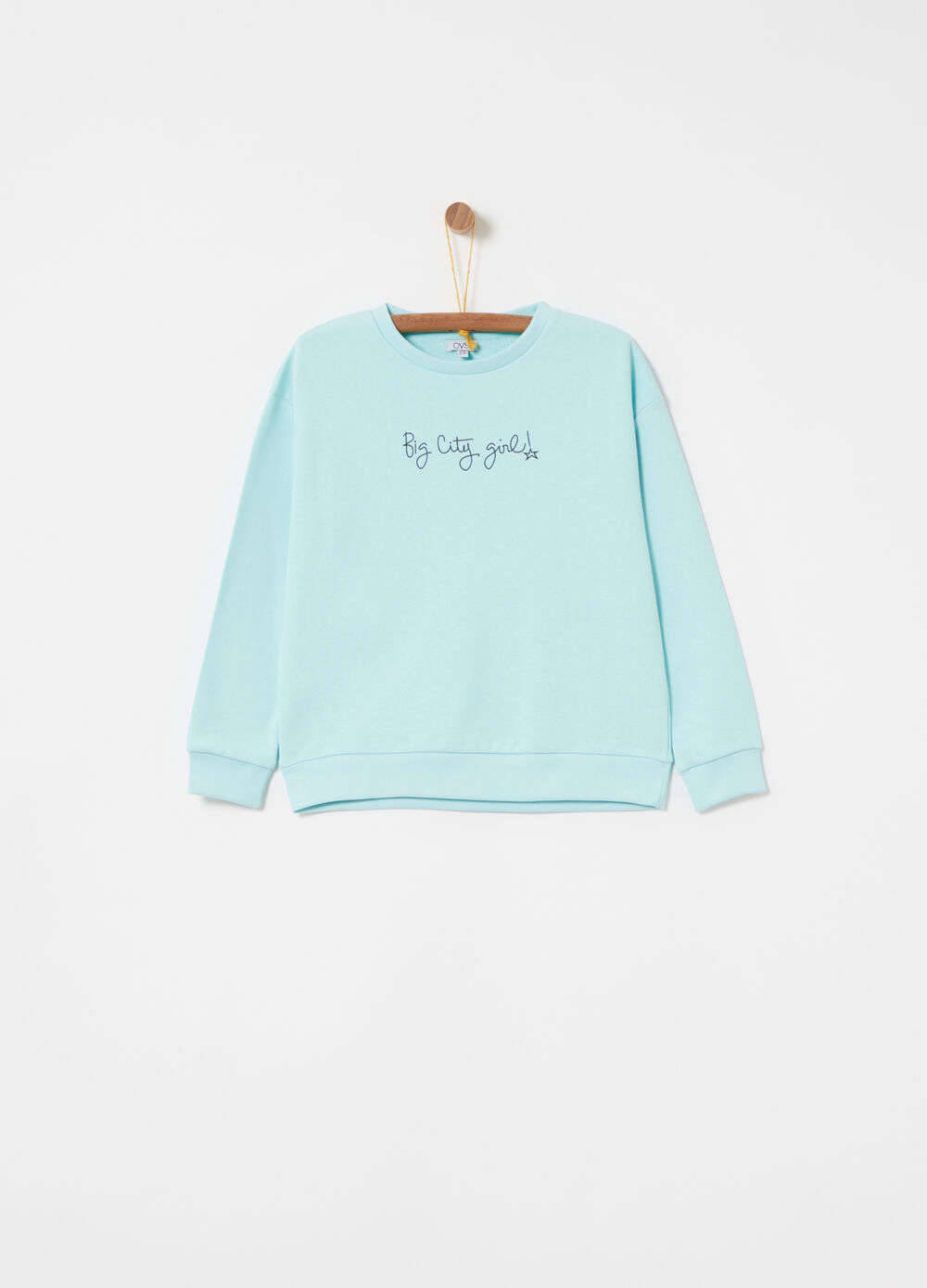 French terry sweatshirt with crew neck and lettering