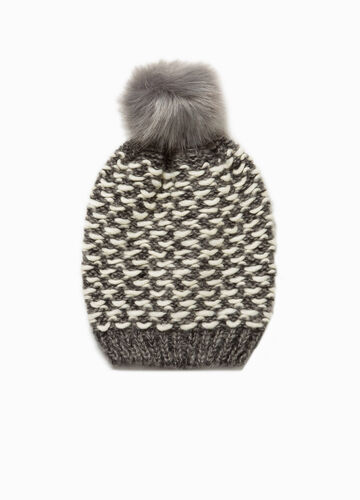 Knitted two-tone beanie cap