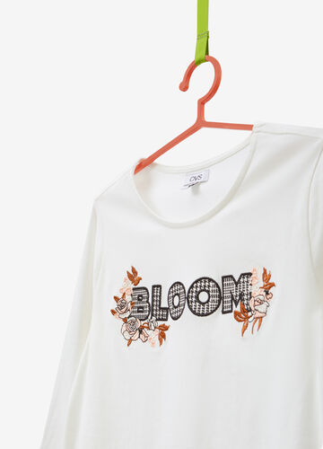 Cotton T-shirt with lettering and floral embroidery