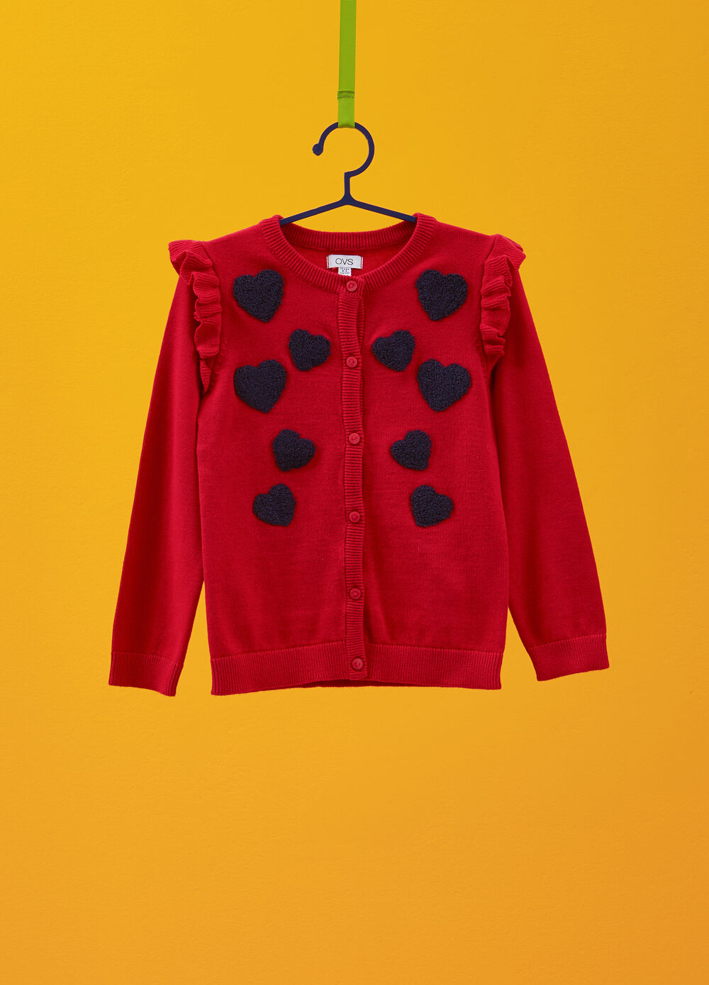 Cotton cardigan with ruffles and heart patches