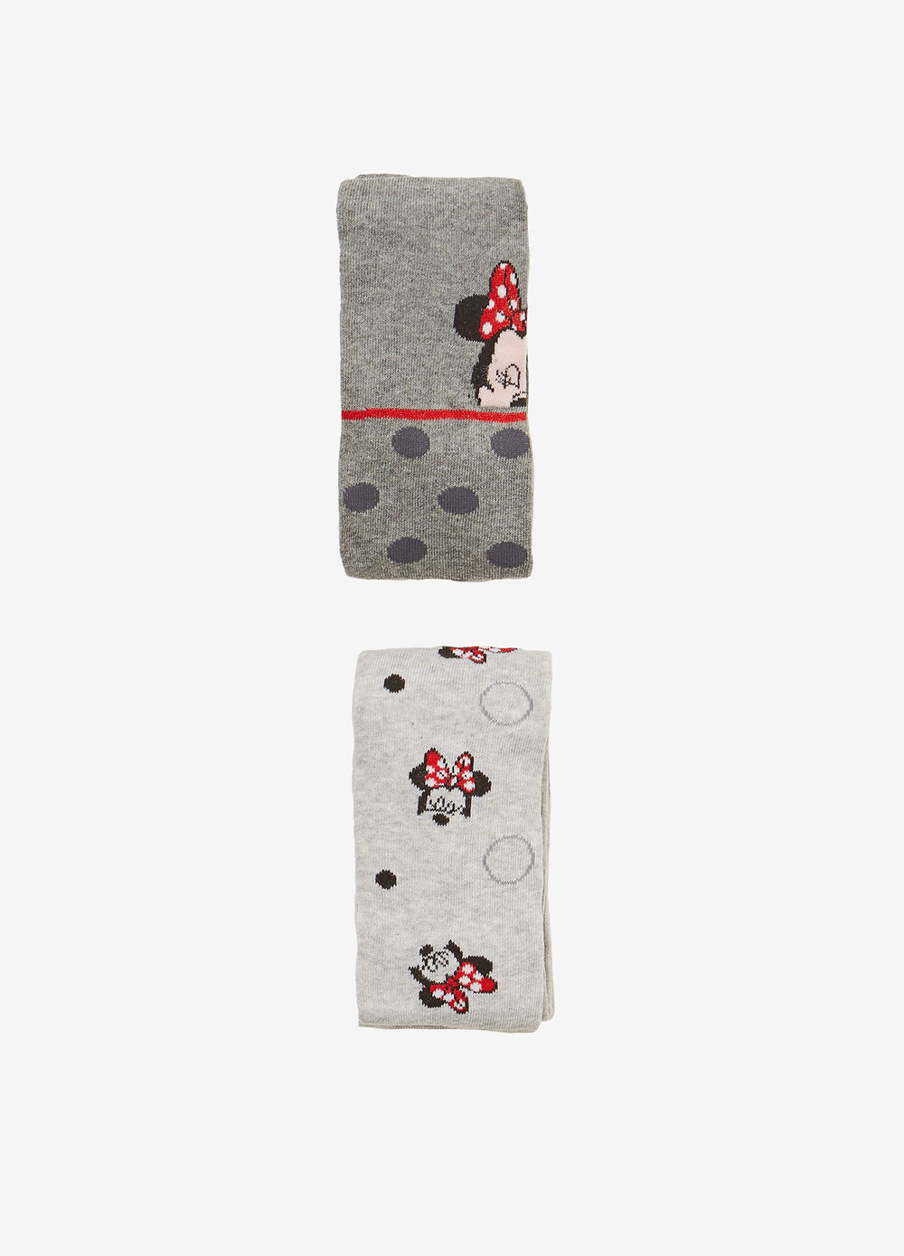 Two-pair pack long socks with Minnie Mouse print