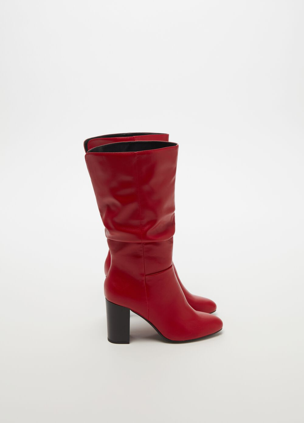 Shiny leather-look boots with chunky heel