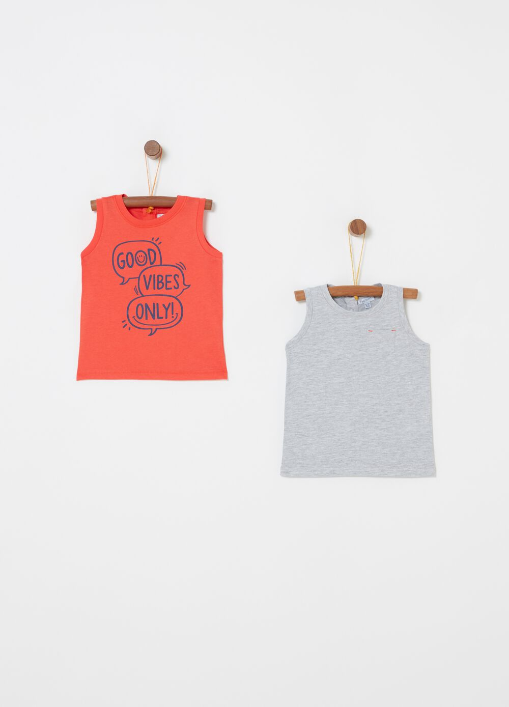 Two-pack vests with ribbing and print