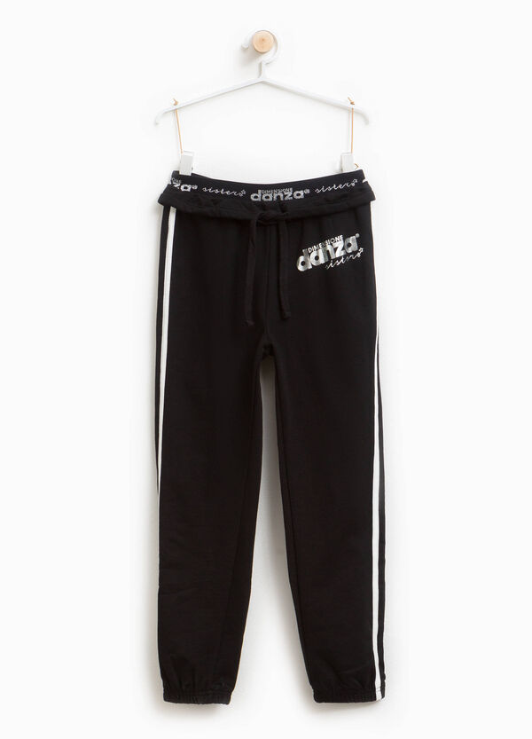 Stretch cotton printed joggers | OVS