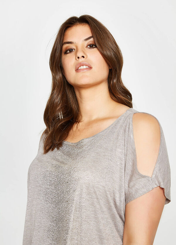 Curvy T-shirt in glitter viscose