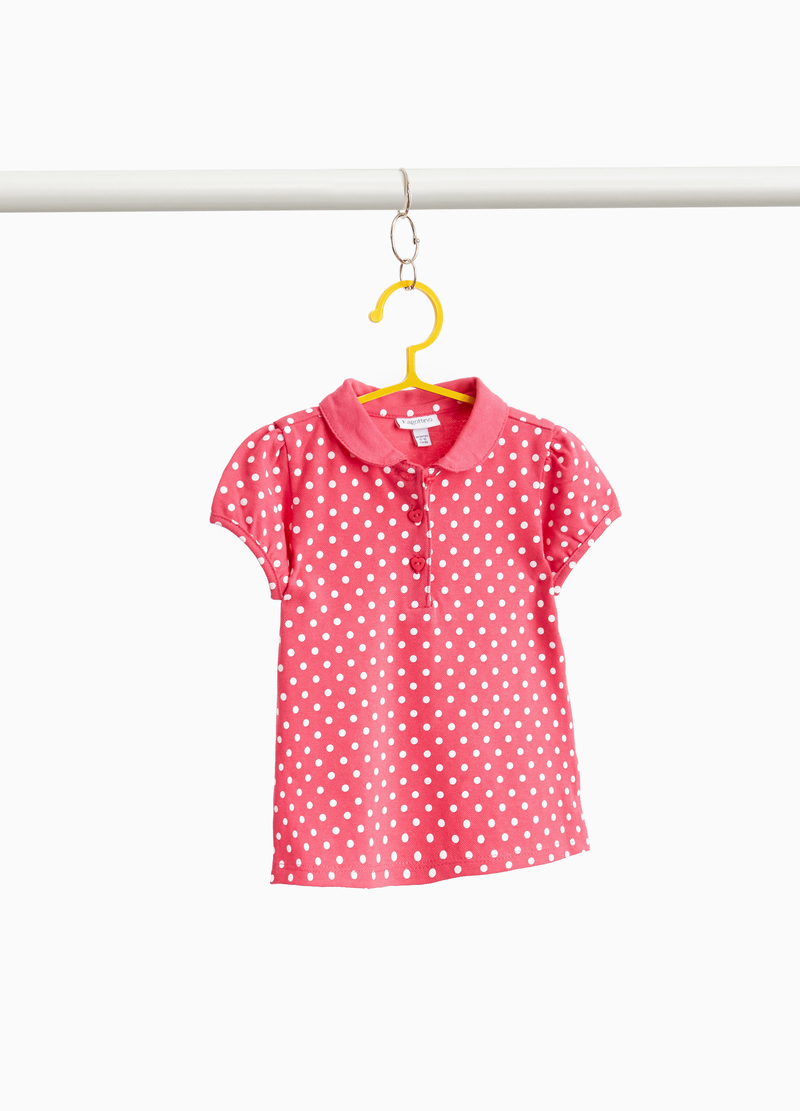 Stretch cotton polo shirt with polka dot print image number null