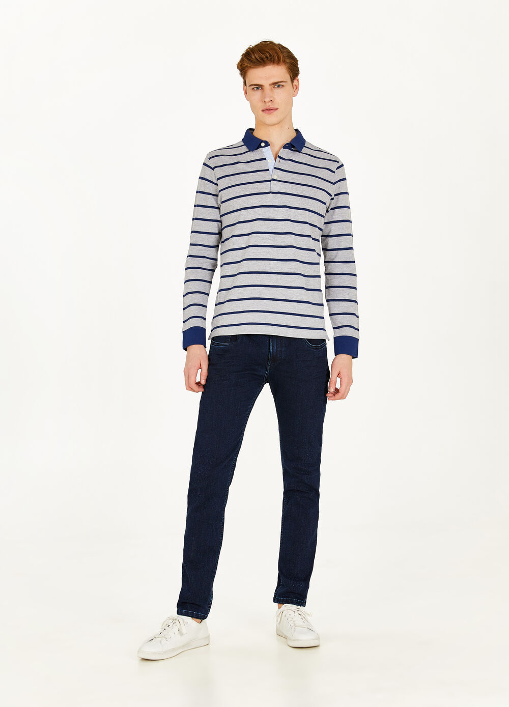Striped pattern polo shirt in cotton and viscose