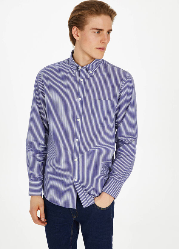 Casual striped shirt with button down collar
