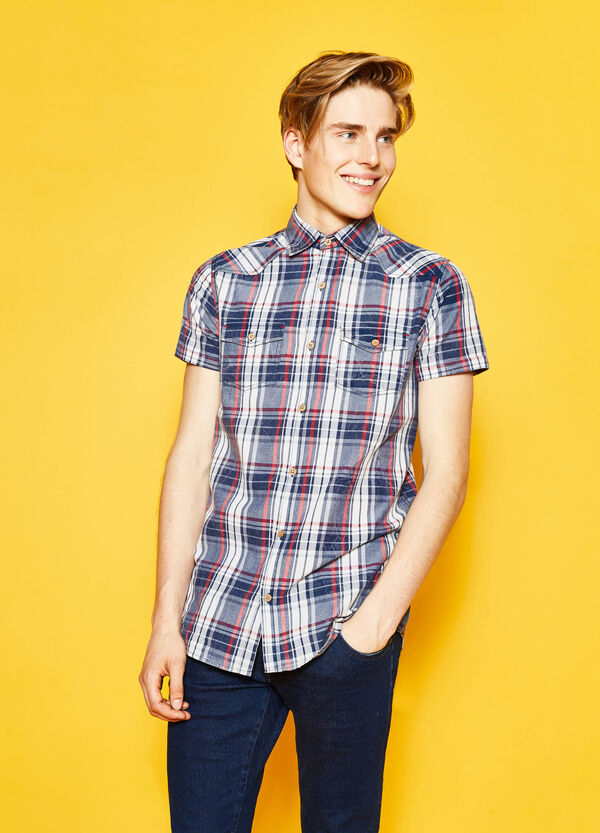 Short-sleeved casual tartan shirt | OVS