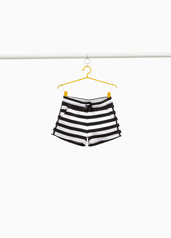 Striped 100% cotton shorts with studs