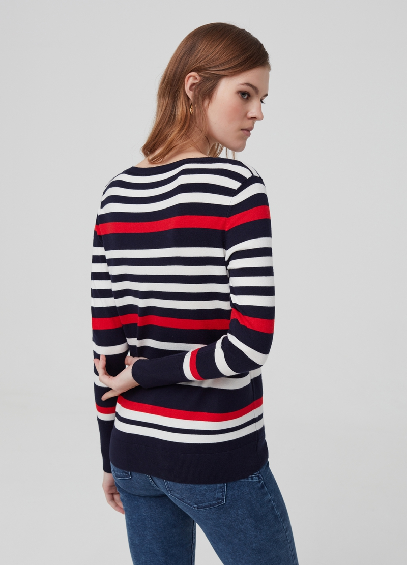 Pullover con bottoni a righe image number null