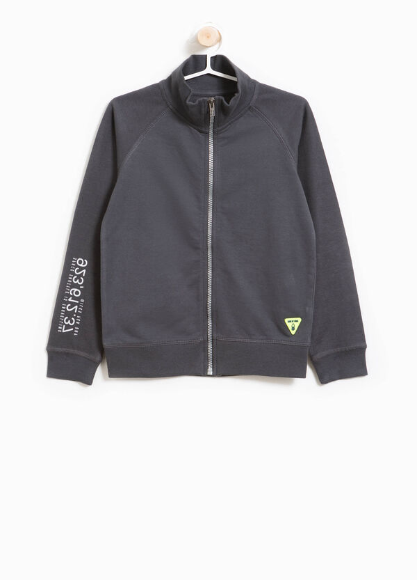 Sweatshirt with printed lettering and zip | OVS