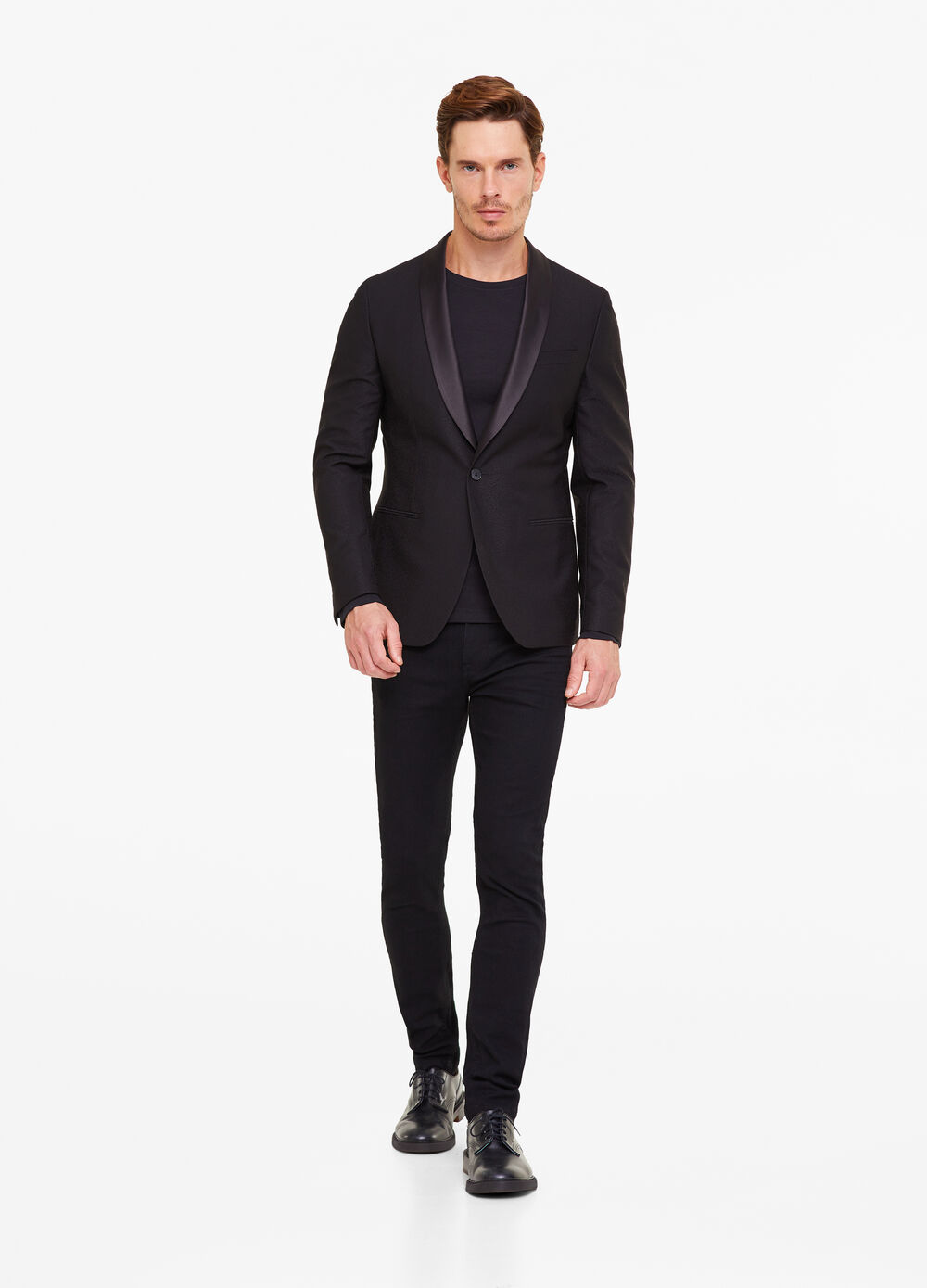 Solid colour jacquard suit jacket