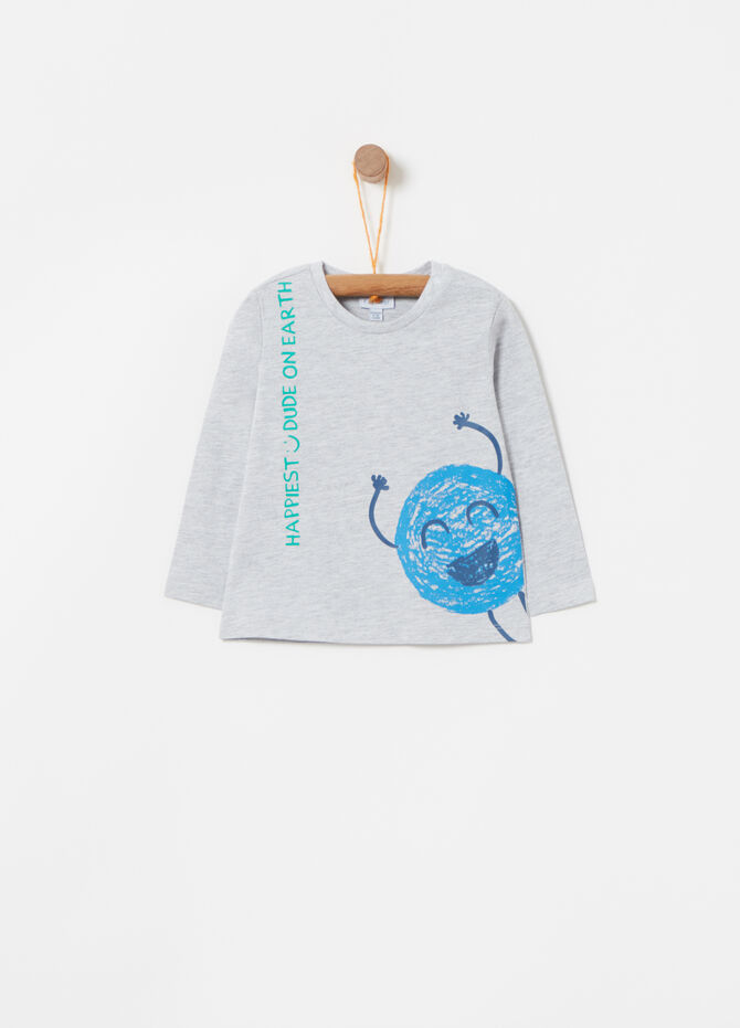T-shirt with monster print and long sleeves