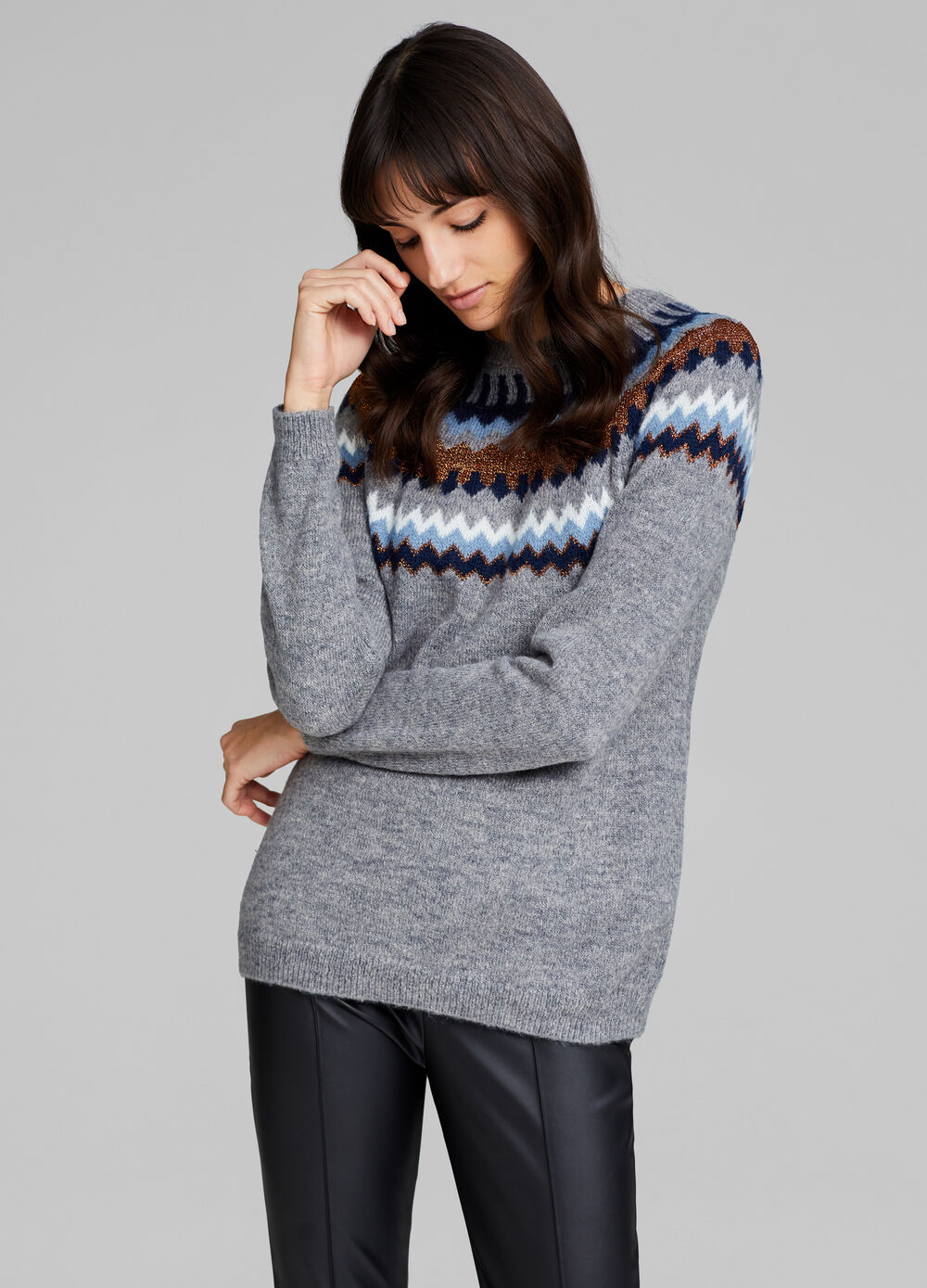 Pullover with lurex and jacquard design