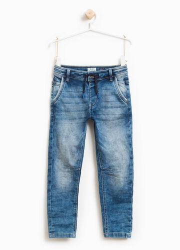 Jeans stretch effetto used con coulisse