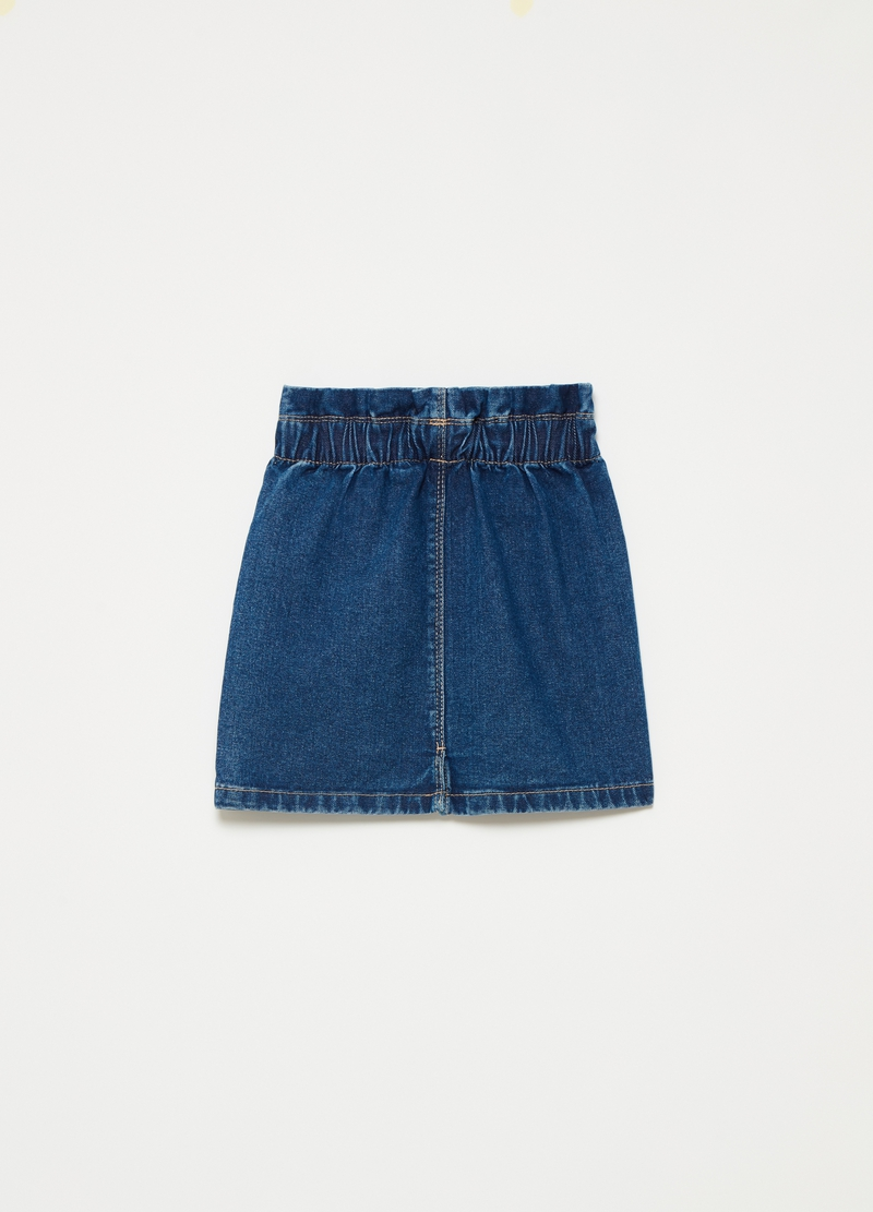 Denim mini skirt with high waist and pockets image number null