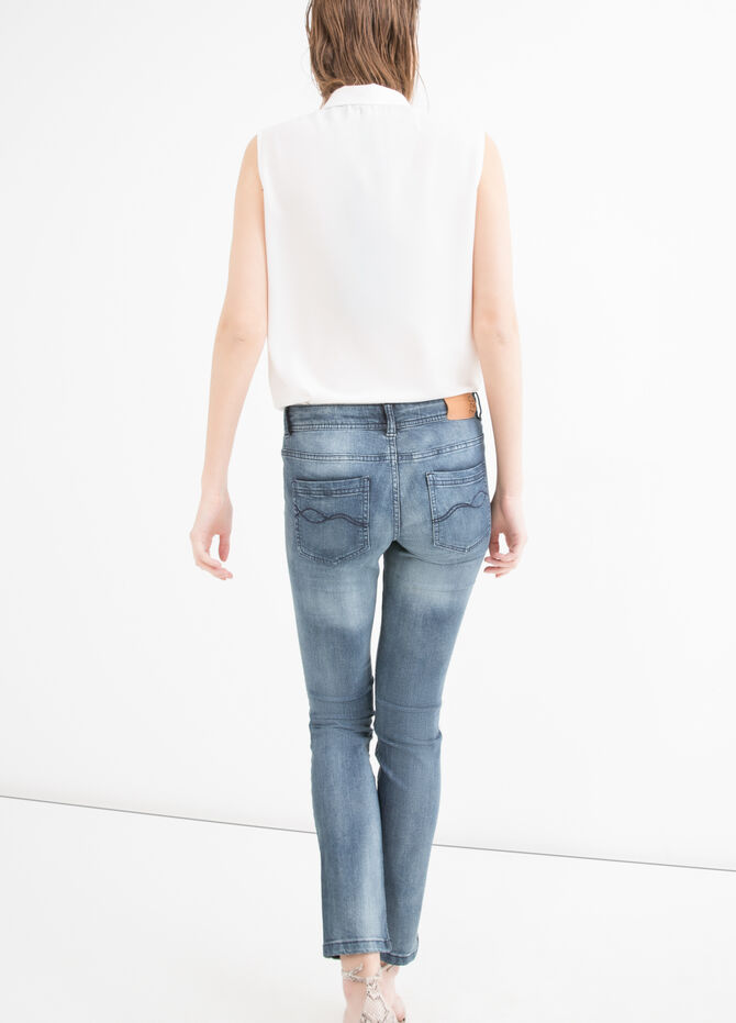 Slim-fit, worn-effect, stretch jeans