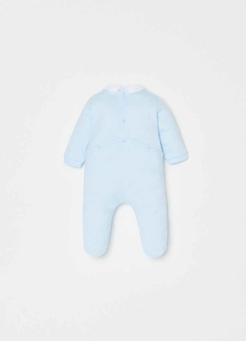 Solid colour onesie with feet in 100% cotton. image number null