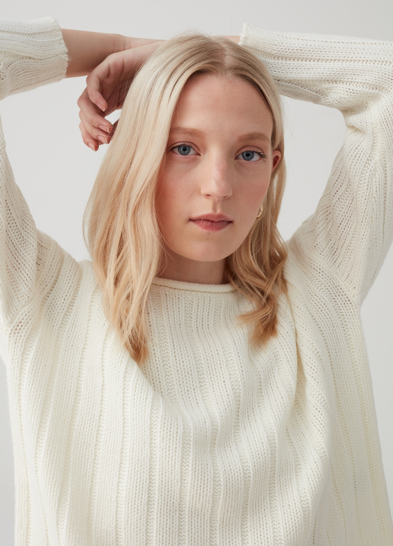 Cable knit pullover image number null