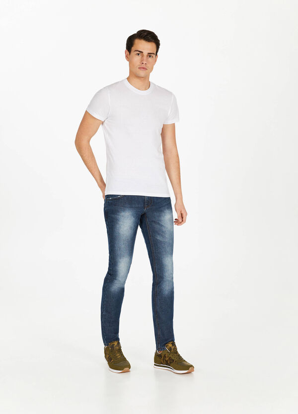 Faded-effect slim-fit jeans with discolouring