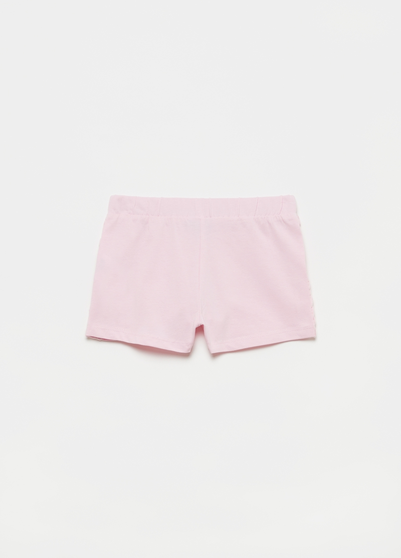 Stretch cotton shorts with frills image number null