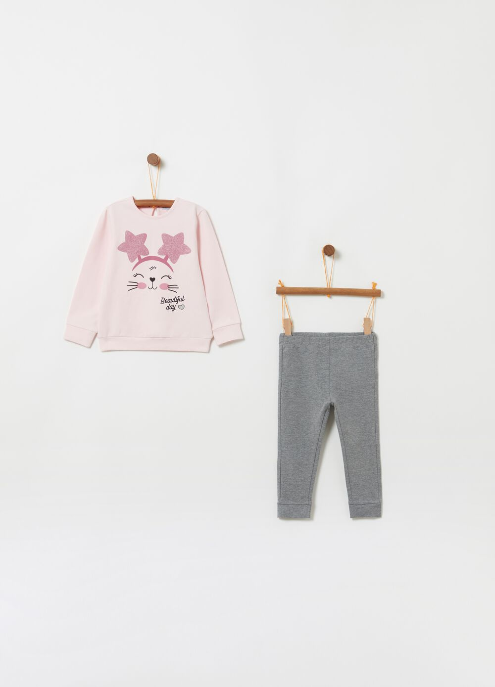 Jogging set t-shirt e pantaloni gattino
