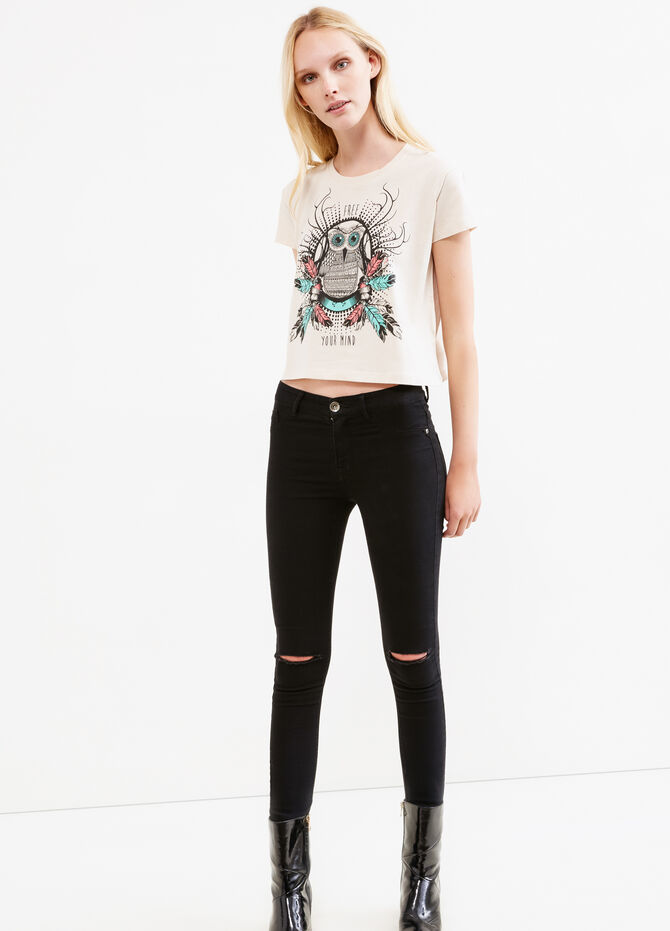 Printesd cropped T-shirt in 100% cotton