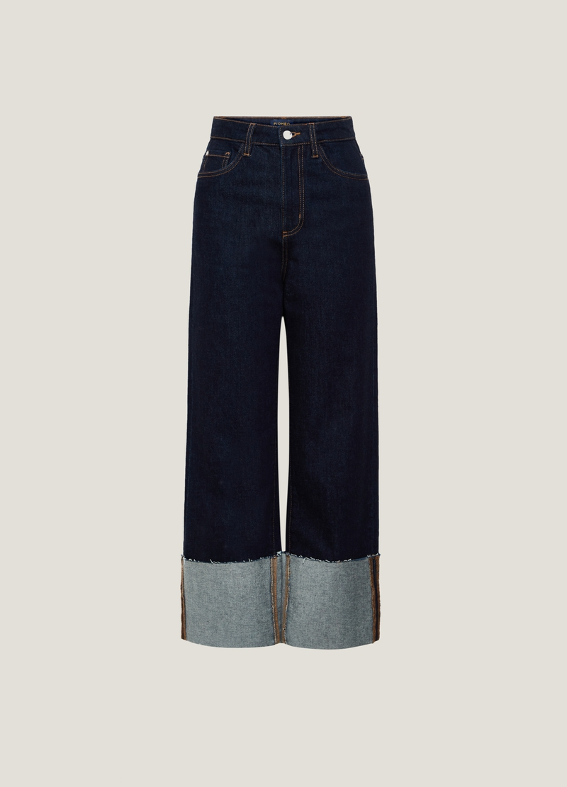 PIOMBO Jeans wide leg con risvolto image number null