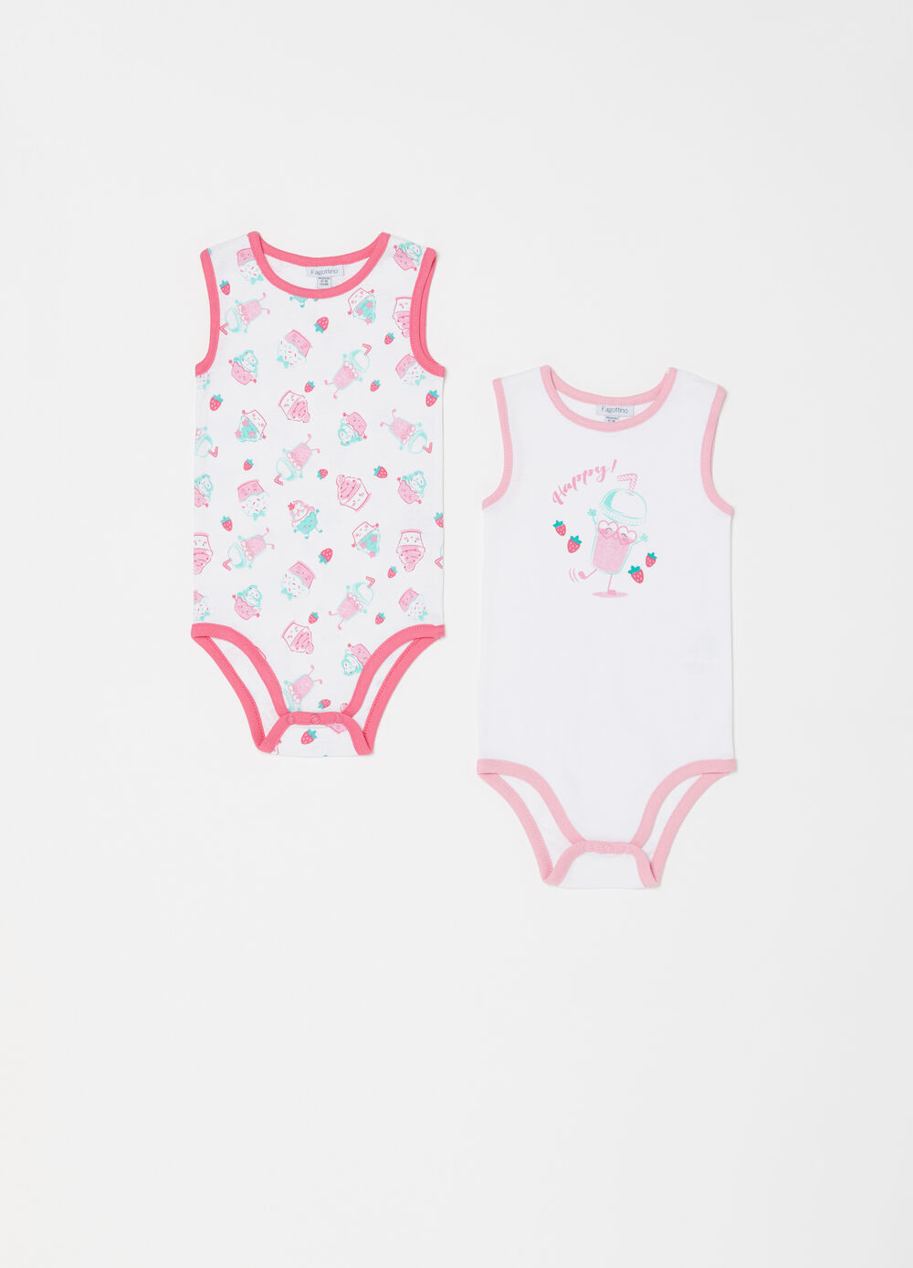 Two-pack cotton bodysuit with pattern and print