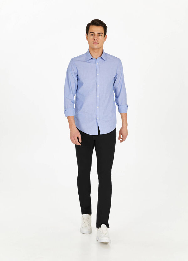 Solid colour cotton casual shirt