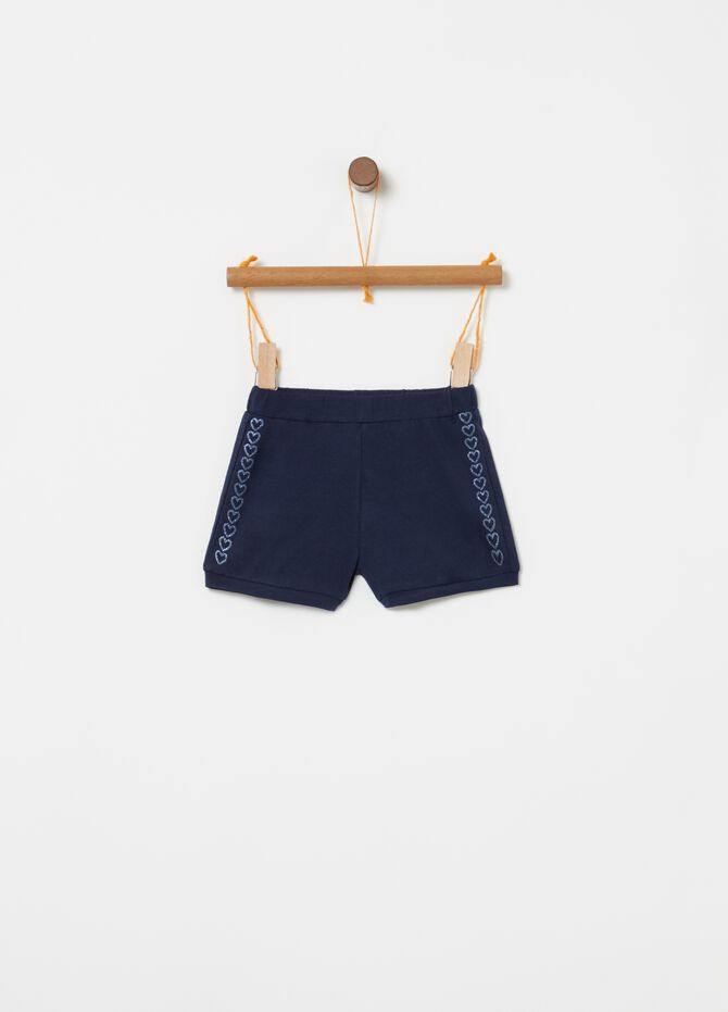 Shorts stretch stampa glitter cuori