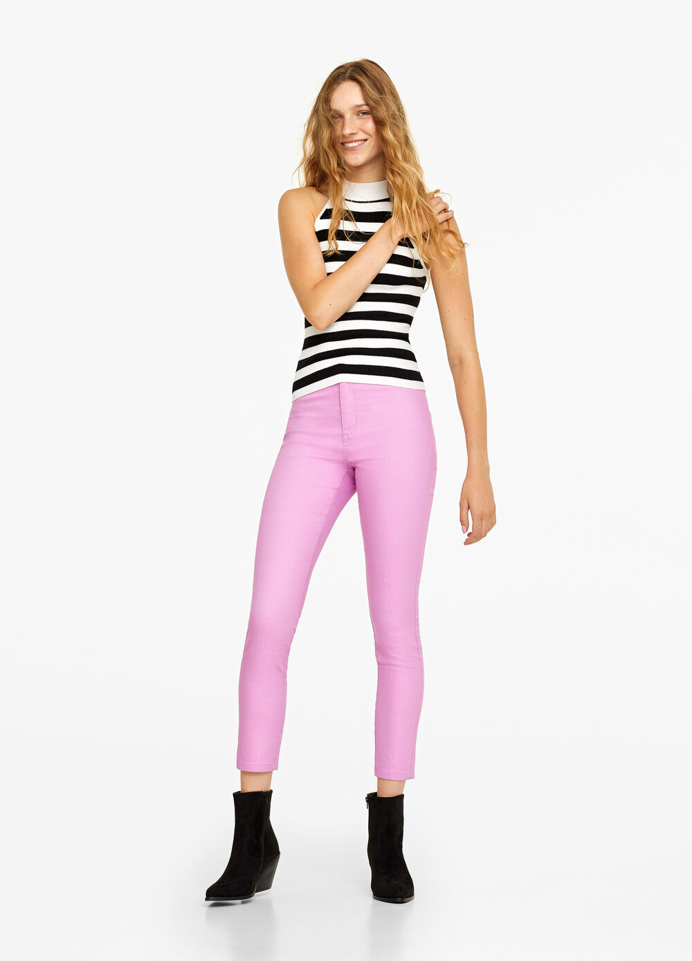 High-waisted skinny-fit stretch trousers