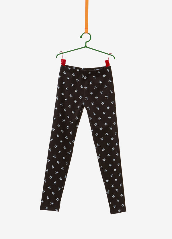 Cotton leggings with glitter stars print