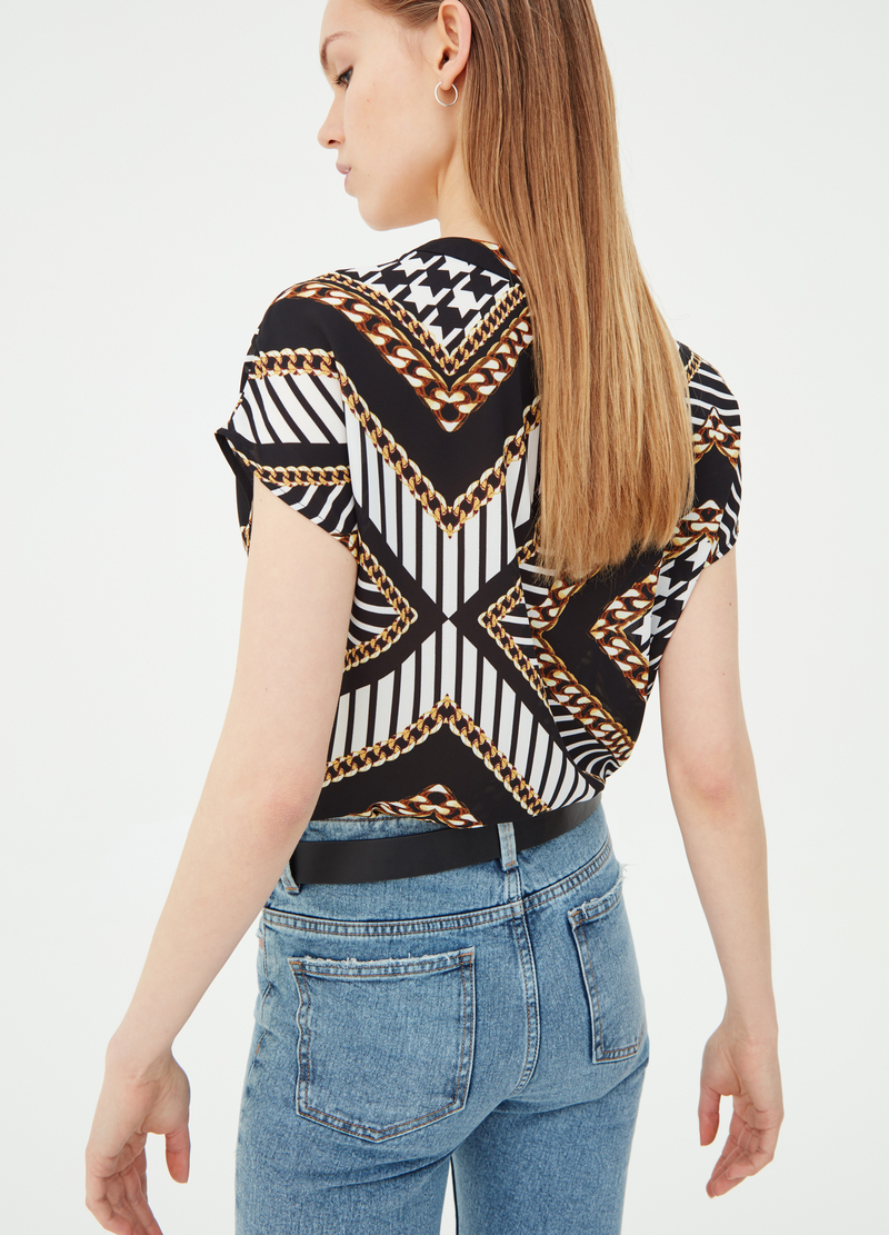 Blusa in crêpe a righe stampata image number null