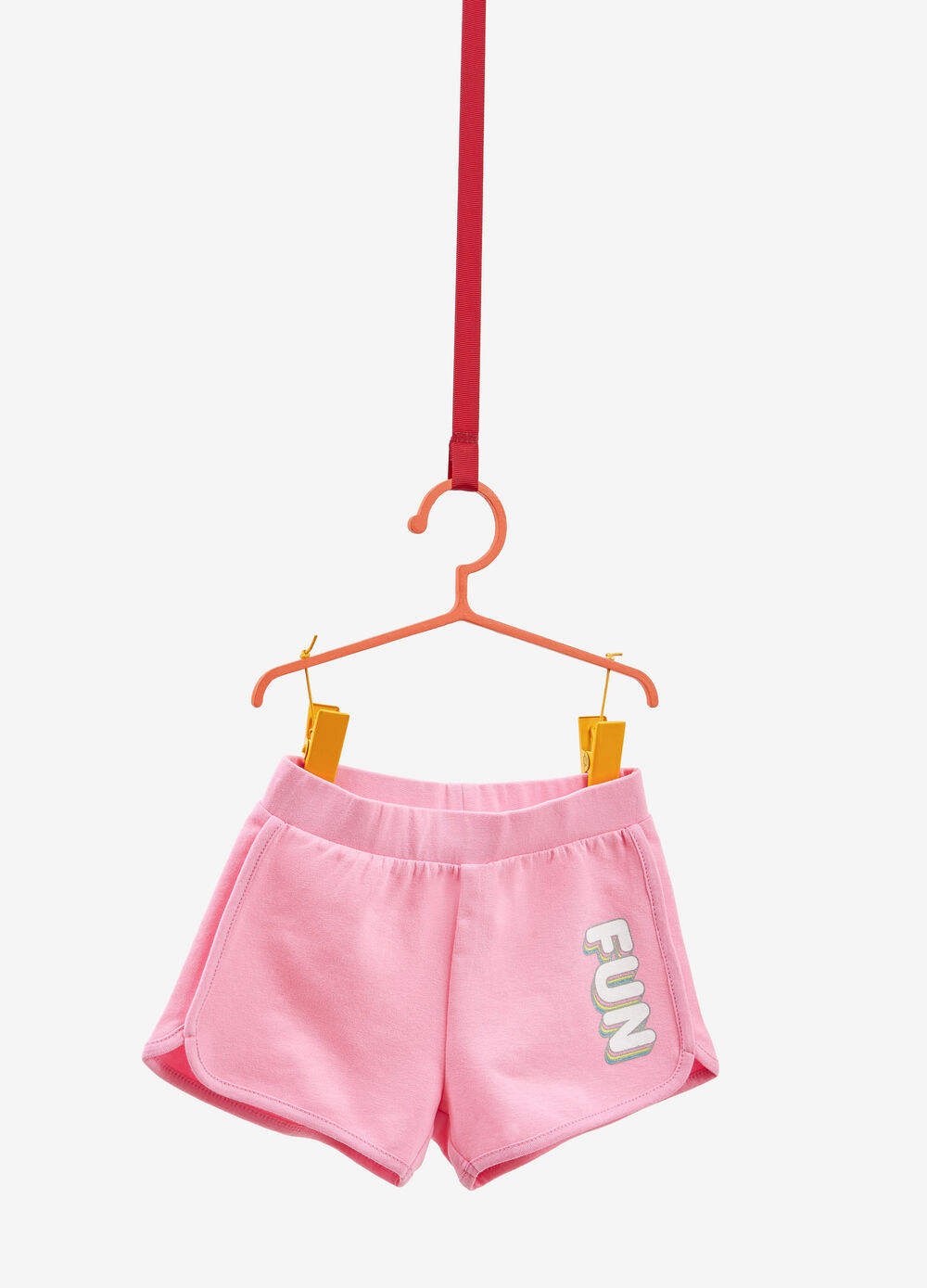 Stretch cotton shorts with printed lettering