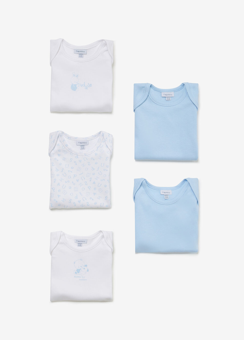 Five-pack cotton bodysuits patterned and solid colour