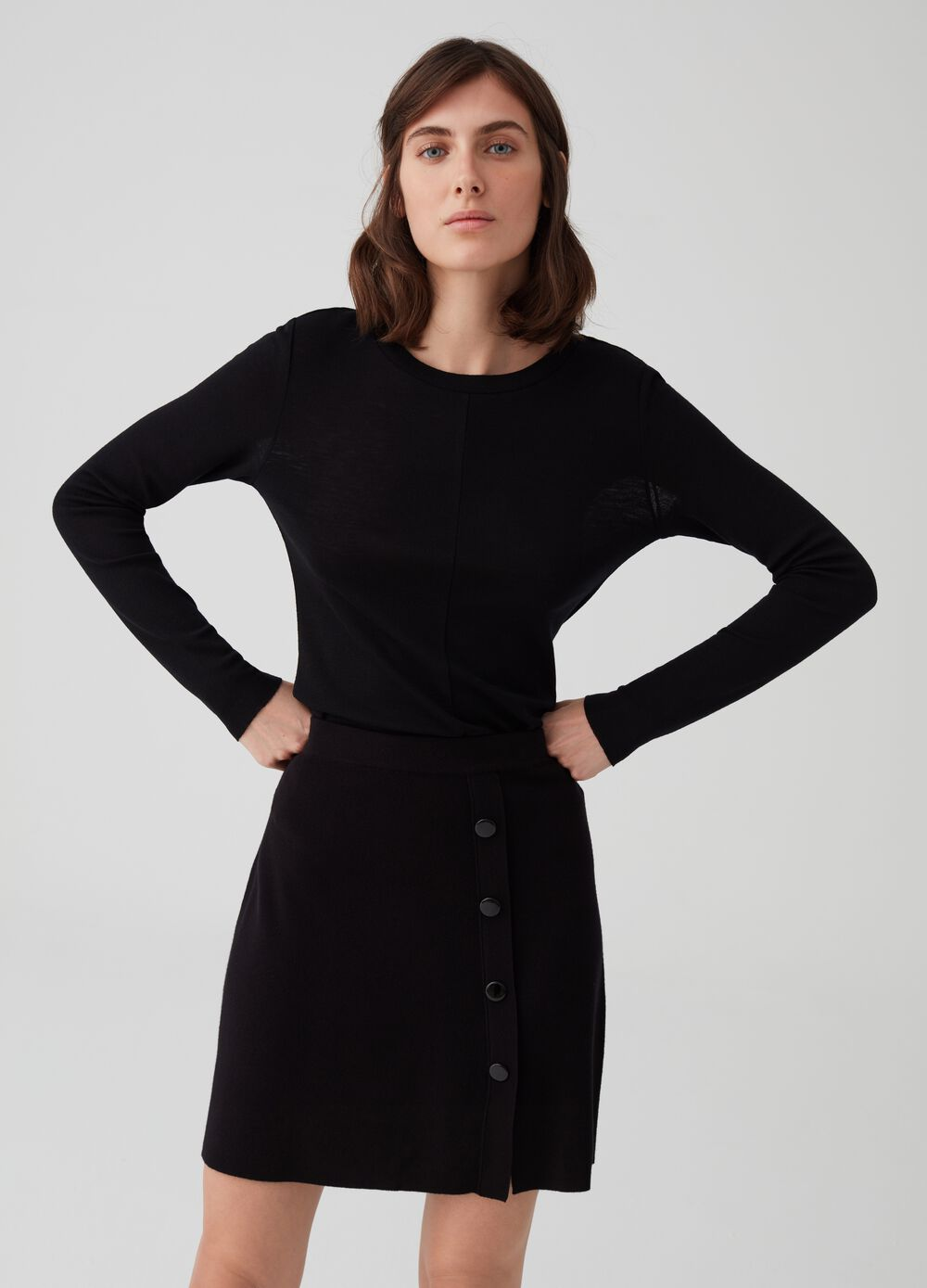 Long-sleeved T-shirt in 100% wool