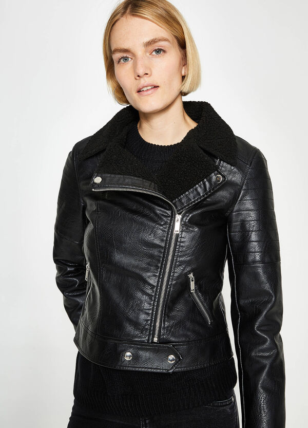 Leather-look crop jacket with lapels | OVS