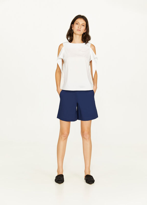 Shorts in popeline stretch tinta unita