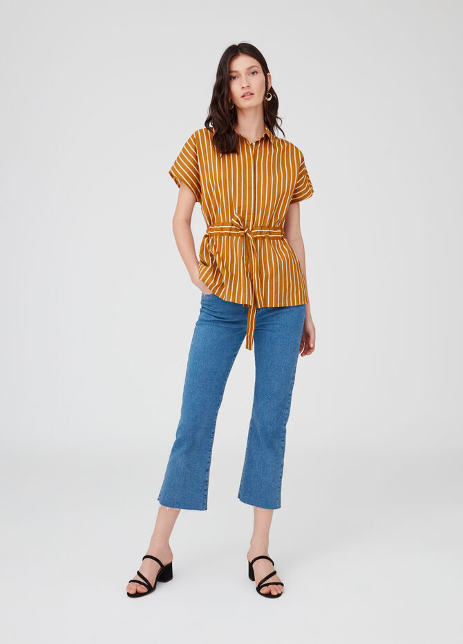 Long blouse with stripes and drawstring