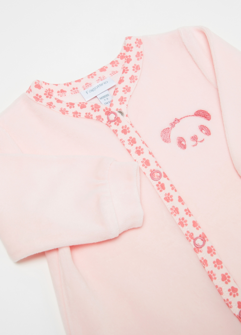 Onesie with feet and panda embroidery image number null