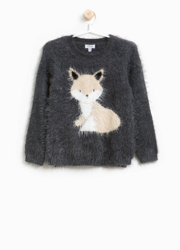 Frayed pullover with round neck with embroidery | OVS