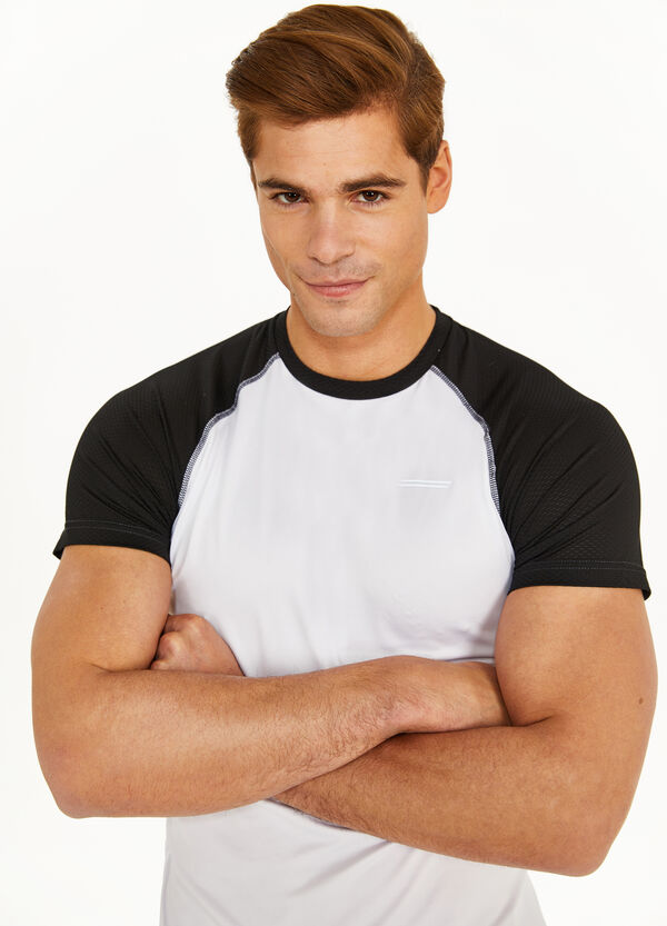 Two-tone openwork stretch T-shirt