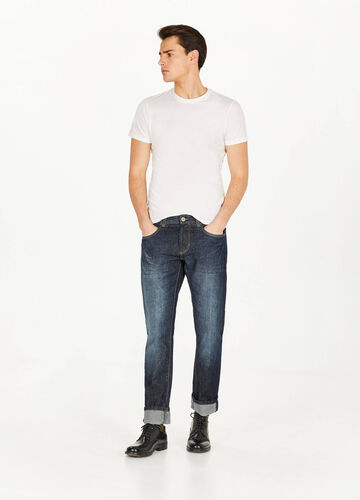 Jeans straight fit con baffature