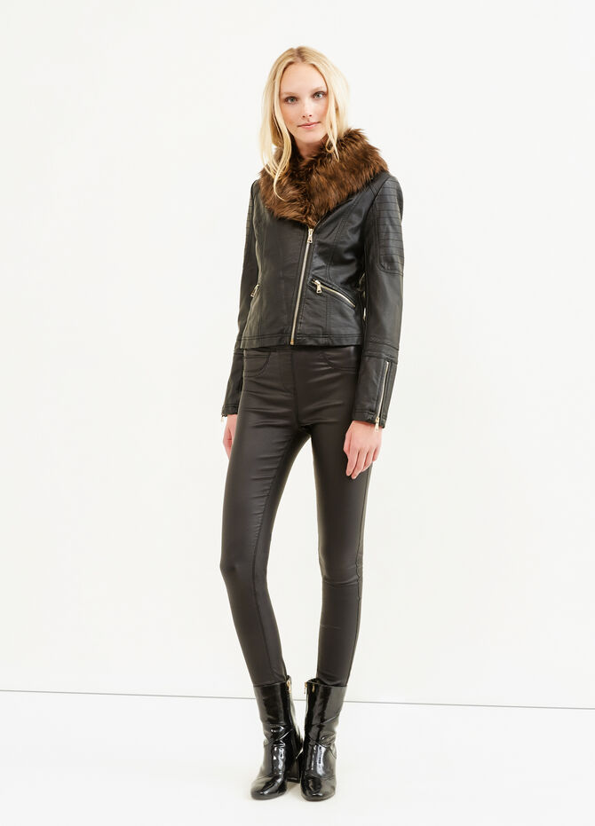 Leather look jacket with zip