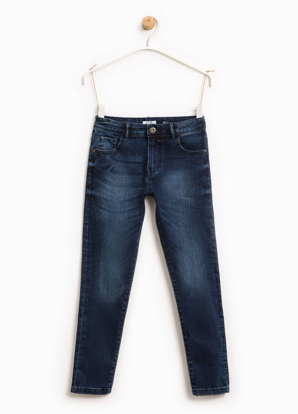 Worn-effect stretch jeans with whiskering | OVS